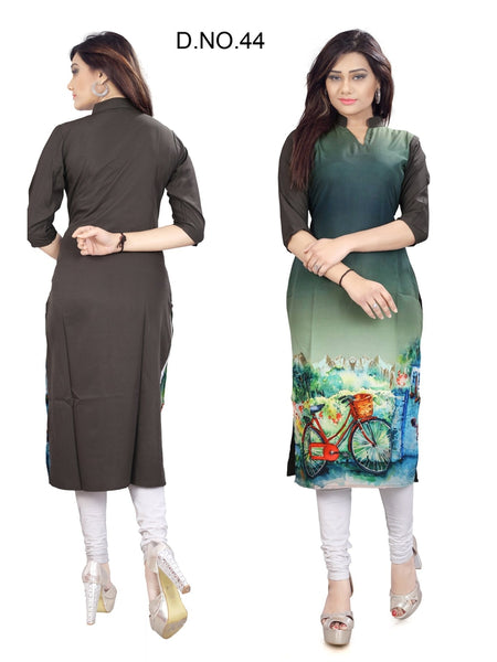 Beautiful Casual Multi Color Printed American Crepe Straight Cut Kurti