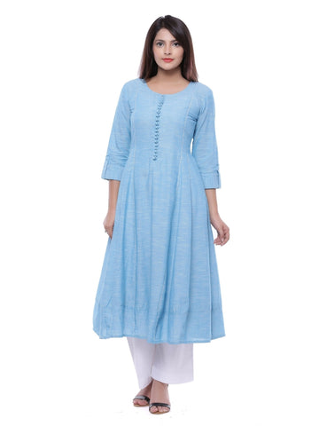 Ayan Light Blue & Light Blue  Casual Wear Anarkali Kurti
