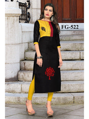 Beautiful Multi Color Printed Khadi Cotton Straight Cut Kurti