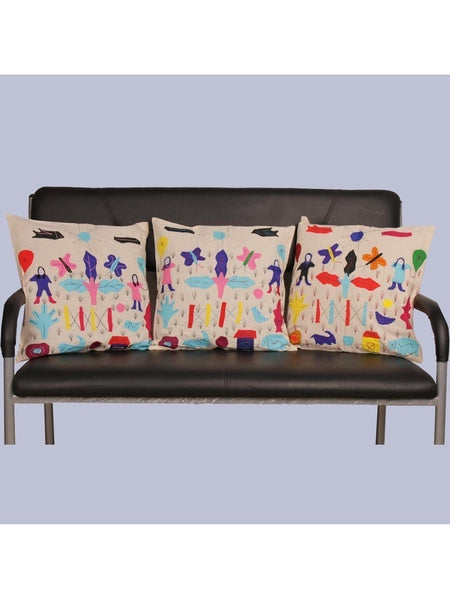 Beige Modern Art Applique Work 3 Set Cushion Cover