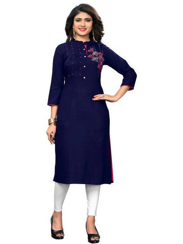Designer Blue Color Rayon Handwork Long Straight Cut Kurti
