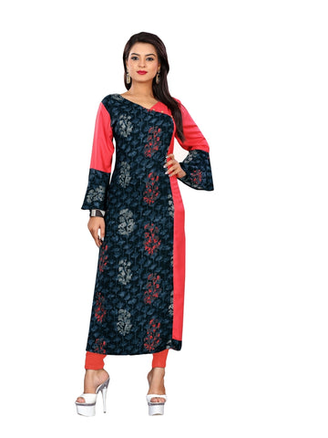 Designer and Beautiful Navy Blue & Pink Color Straight Cut Kurti