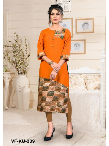Designer and Beautiful Orange Colour Straight Cut Kurti