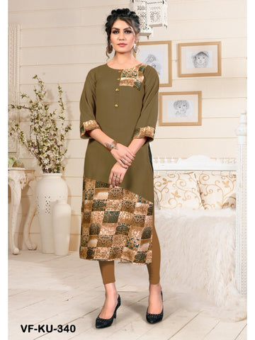 Designer and Beautiful Mehandi Green Colour Straight Cut Kurti