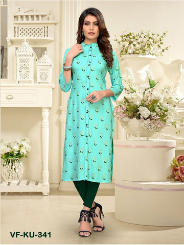 Designer and Beautiful Sky Blue Colour Straight Cut Kurti