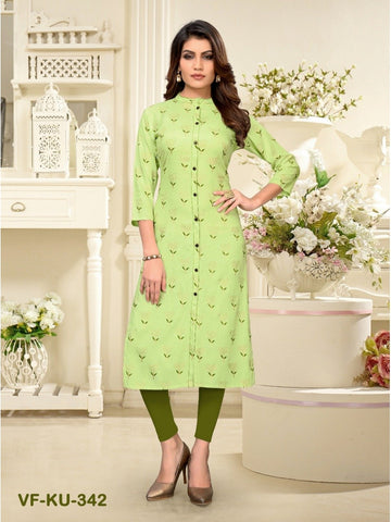 Designer and Beautiful Light Parrot Colour Straight Cut Kurti
