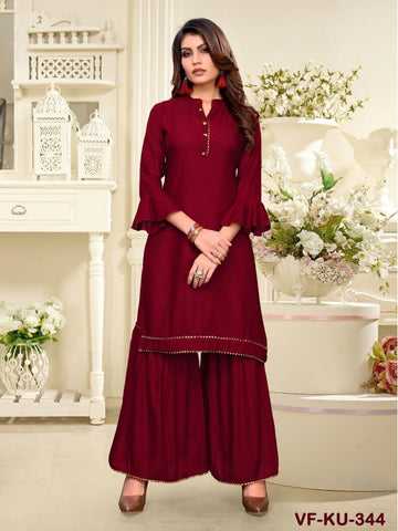 Designer and Beautiful Maroon Colour Straight Cut Kurti with Sharara
