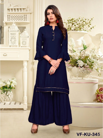 Designer and Beautiful Navy Blue Colour Straight Cut Kurti with Sharara
