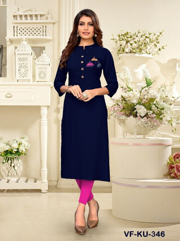 Designer and Beautiful Navy Blue Colour Straight Cut Kurti