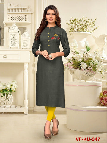 Designer and Beautiful Grey Colour Straight Cut Kurti