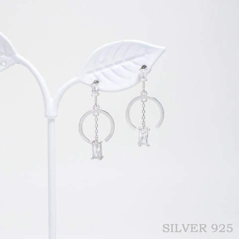 Square Pendant Dangled Earrings 925 Silver [Touch Your Heart]