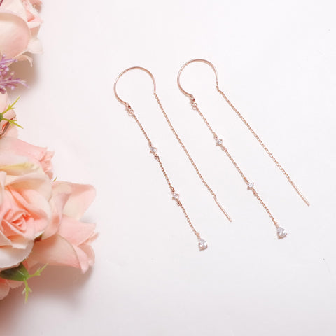 Slim Chain Shine Earrings [Touch Your Heart]