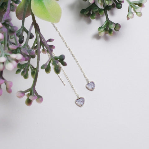 [SS]Vivian Heart Pendant Earrings (Sterling Silver)