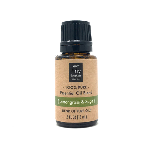 Essential Oil Blend - Lemongrass & Sage - 100% Pure & Undiluted, Therapeutic Grade