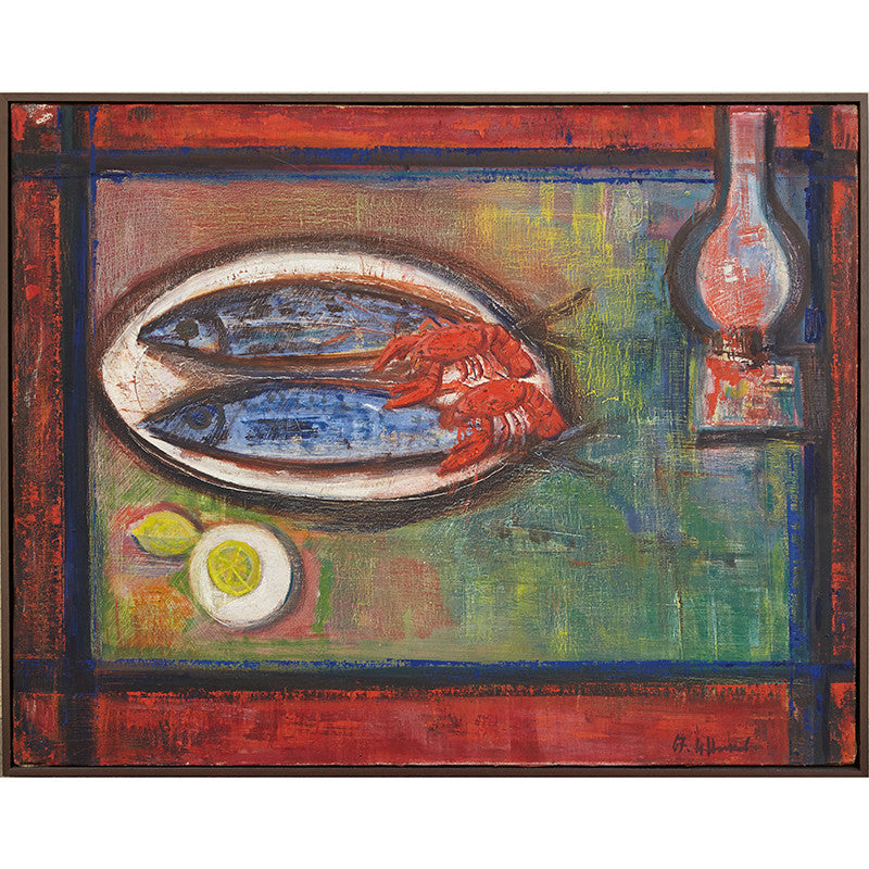 1967 Vintage Oil Painting of Still Life of Fish and Crustacean by Nikolay Nikov Hollywood