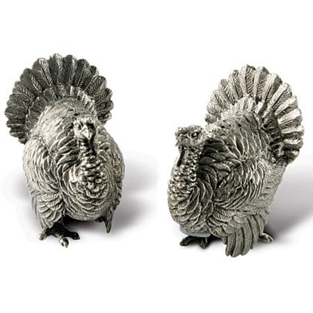 Turkeys Salt and Pepper Shaker Pair made from Sterling Silver Pewter Hollywood