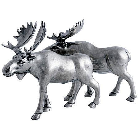 Moose Salt and Pepper Shaker Pair made from Sterling Silver Pewter Hollywood