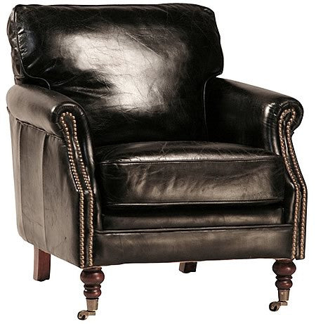 DeMille Luxurious Black Vintage Leather Armchair in Top Grain Leather with Exposed Antique Tacks Hollywood