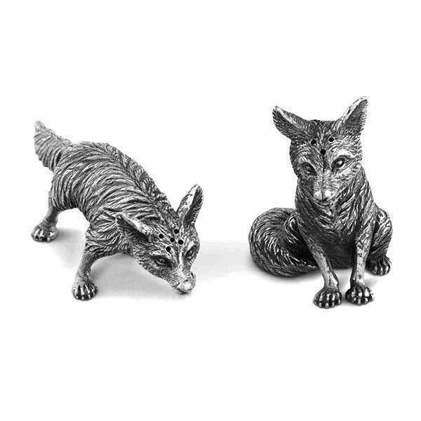 Foxes Salt and Pepper Shaker Set in Sterling Silver Pewter Hollywood