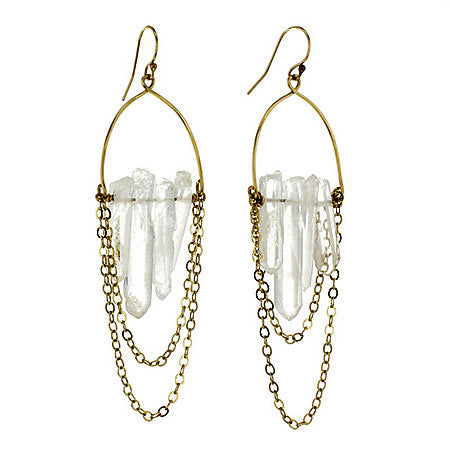 14k Gold Filled Raw Crystal Hoop Earrings with Natural Herkimer Crystals Hollywood
