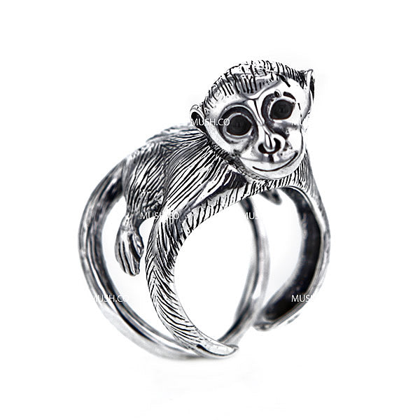 Cheeky Monkey Sterling Silver Adjustable Ring Hollywood
