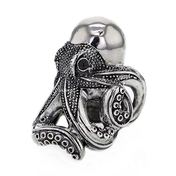 Large Octopus Sterling Silver Ajustable Ring Hollywood