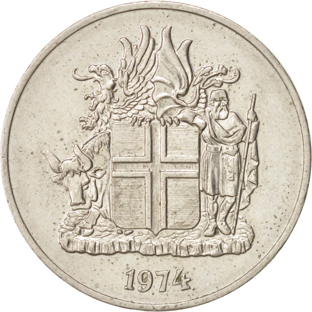 Coin, Iceland, 10 Kronur, 1974, EF(40-45), Copper-nickel, KM:15