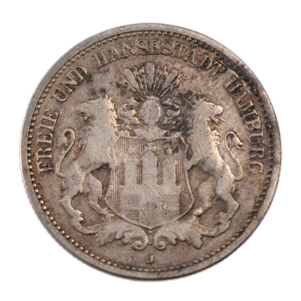 GERMAN STATES, 2 Mark, 1876, Hambourg, KM #604, VF(20-25), Silver, 10.80