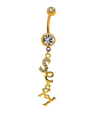 "Fashion letter ""Sexy""zircon belly button ring antiallergic Navel Belly Ring-0428-Gifts box"