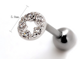 Round hollow out star zircon earrings Stainless steel antiallergic tragus Earring body jewelry -0427-Gifts box