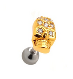 Fashion punk Alloy skull zircon Cartilage Studs antiallergic tragus Earring-0427-Gifts box