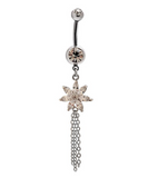 Fashion flower zircon belly button ring antiallergic Navel Belly Ring-0428-Gifts box