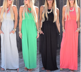New summer sexy Women solid color long dress-0522