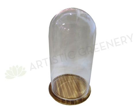 ACC0058 Glass Bell Jar with Wood Base 21Dx37H