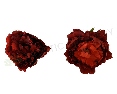 ACC0078 Individual Peony Flower Head - Deep Red / Burgundy