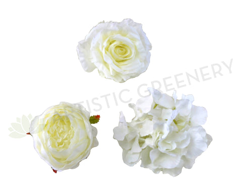 ACC0078 Premium Single Flower Head - White (Large Size)