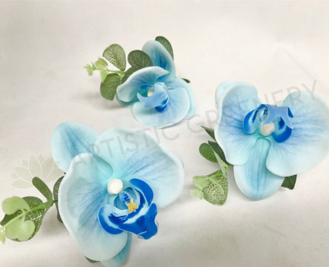 Buttonhole - Blue Orchid with Greenery - Deanne F