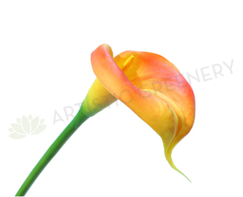 F0008(LGE)ORA Calla Lily Real Touch (Fully Open) 67cm Orange