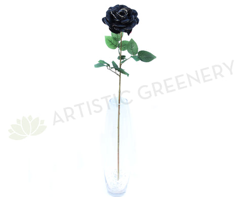 F0027 Black Single Rose with Gold GIitter 73cm