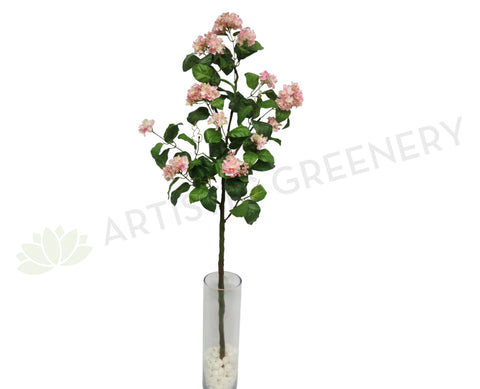 F0124 Hydrangea Branch with Leaves 144cm Pink