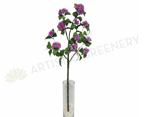 F0124 Hydrangea Branch with Leaves 144cm Purple