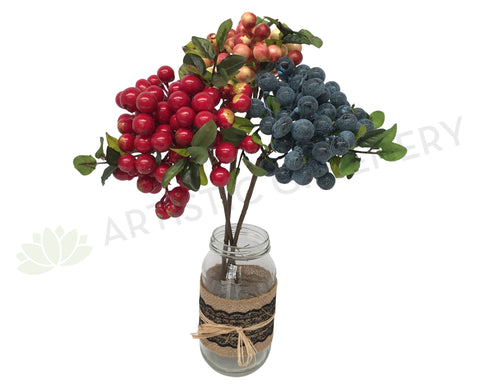 F0165 Viburnum Berry Spray 33cm Red Orange Blue
