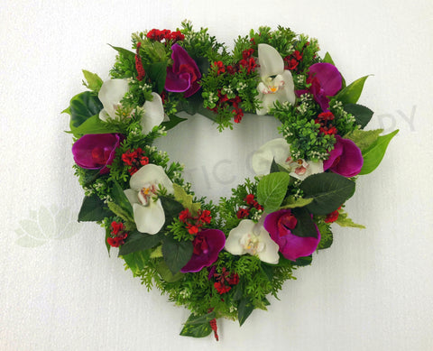 Heart Shaped Floral Wreath (Pink & White) 40cm / 70cm