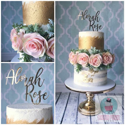 Cake Decoration (Silk Roses & Dusty Miller)