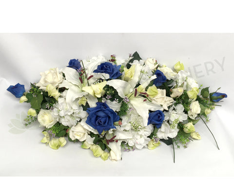 Blue & White Casket Spray / Memorial Flowers 70cm & 100cm Long - SYM0031