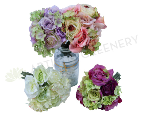 SP0067(g) Rose with Hydrangea Bunch 21cm 4 Styles