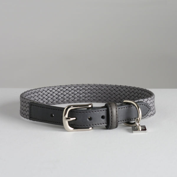 Maison Le Lou Luxury Dog Collar Bernard Grey