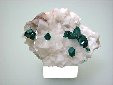 Dioptase on Calcite, Tsumeb Mine, Namibia Miniature 3 x 4 x 5.5 cm $500. Online 11/30