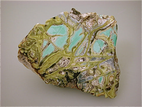Variscite, Little Green Monster Mine, Fairfield, Utah Kalaskie Collection #417, Small Cabinet 5.0 x 9.0 x 11.0 cm, $390. Online 1/12