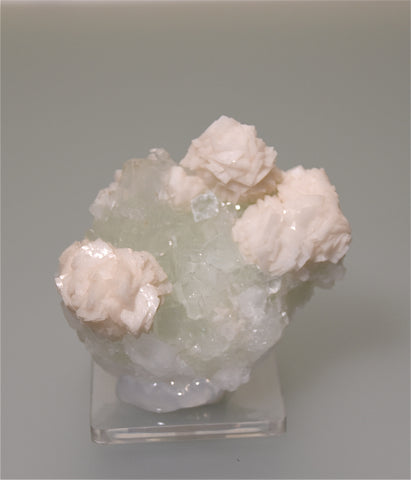Dolomite on Fluorite, Dongshan, Hunan Province, China, Mined ca. 1999, Kalaskie Collection #42-43,  Small Cabinet 5.5 x 6.5 x 8.0 cm, $125.  Online 3/8.